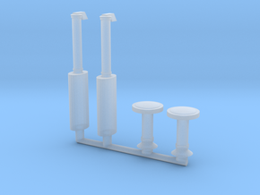 1/64 40X0-42X0 Mufflers and Air Stacks in Smoothest Fine Detail Plastic