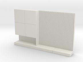 Miniature 1:48 TV Wall in White Natural Versatile Plastic: 1:48 - O