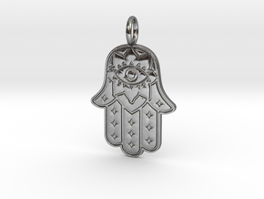HAMSA HAND in Fine Detail Polished Silver: Small