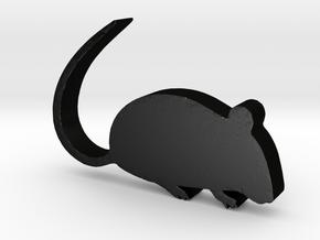 Rat Game Piece in Matte Black Steel