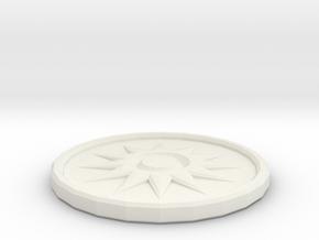 Sun Coin in White Natural Versatile Plastic