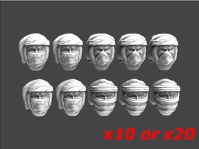 Imperial Soldier Heads With Desert Headgear 6 in Smooth Fine Detail Plastic: Small