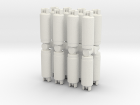 Gas Cylinder Tank (x16) 1/87 in White Natural Versatile Plastic