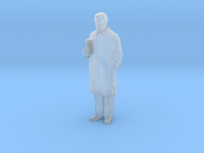 1/43 Scientist in Coat with Big Coffee in Smooth Fine Detail Plastic
