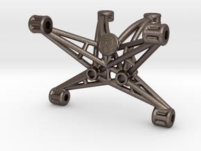 TLR 22 4.0 / 5.0 Laydown Wheelie Bar Mount - Steel in Polished Bronzed-Silver Steel