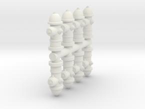 Fire Hydrant (x8) 1/56 in White Natural Versatile Plastic
