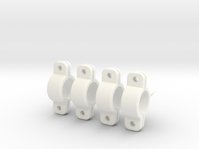 45 Deg Clamps for 8mm Tubular (Lama Hook Mounts) in White Strong & Flexible Polished