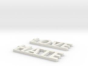 LOVE/HATE Modern Earrings!!! in White Natural Versatile Plastic: Medium