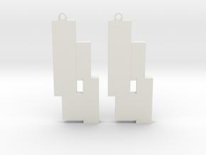 Modern Earrings Design  in White Natural Versatile Plastic: Small