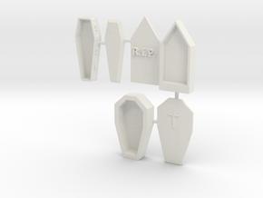HO Scale 3 Coffins in White Natural Versatile Plastic