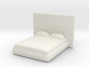Modern Miniature 1:48 Bed in White Natural Versatile Plastic: 1:48 - O