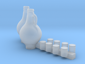 S Scale Cups and Pitchers in Smooth Fine Detail Plastic