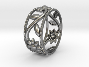 Flower Ring in Natural Silver: 6 / 51.5