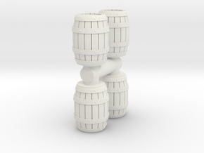 Wooden Barrel (x4) 1/76 in White Natural Versatile Plastic