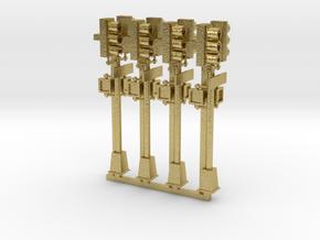 Traffic Light - NYC - HO 2 head pole x4 in Natural Brass: 1:87 - HO
