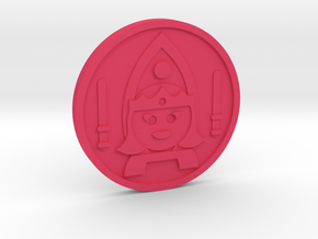 Queen of Wands Coin in Pink Processed Versatile Plastic