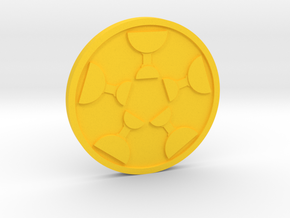 Five of Cups Coin in Yellow Processed Versatile Plastic