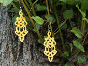 Earring Trefoil in Yellow Processed Versatile Plastic