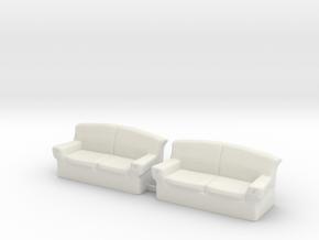 O Scale Couchs in White Natural Versatile Plastic