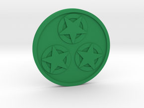 Three of Pentacles Coin in Green Processed Versatile Plastic