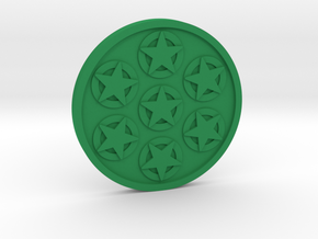 Seven of Pentacle Coin in Green Processed Versatile Plastic