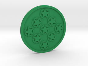 Nine of Pentacles Coin in Green Processed Versatile Plastic