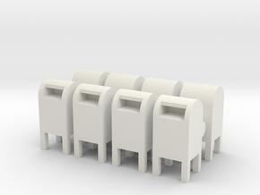 USPS Mailbox (x8) 1/87 in White Natural Versatile Plastic