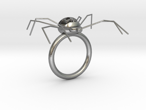 Spider Ring in Natural Silver