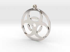 Biohazard necklace charm in Platinum