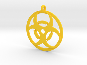 Biohazard necklace charm in Yellow Processed Versatile Plastic