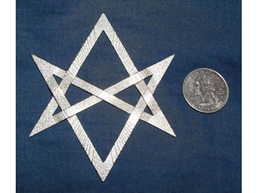 Large Unicursal Hexagram in Polished Nickel Steel