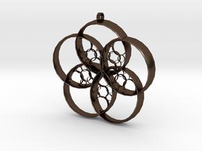 Flower Penta-Hoop Pendant in Polished Bronze Steel: Large
