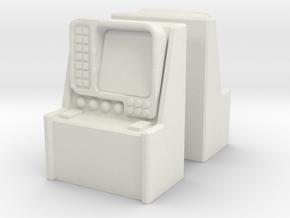 Monitor Control Console (x2) 1/87 in White Natural Versatile Plastic