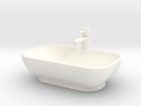 Bath Sink with tap in 1:12 and 1:24 in White Processed Versatile Plastic: 1:24
