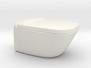 Toilet, wall hung with lid - 1:12, 1:24 in White Natural Versatile Plastic: 1:24
