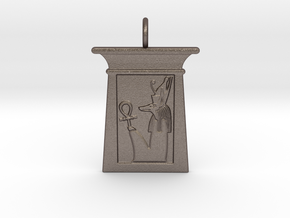 Enshrined Anup w/ Pschent in Polished Bronzed-Silver Steel