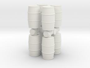 Blue Chemical Barrel (x8) 1/76 in White Natural Versatile Plastic