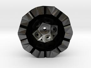 Rhombicosidodecahedron half in Matte Black Steel