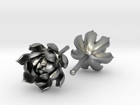 Echeveria Succulent Earrings in Natural Silver