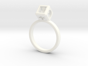 "JEWELRY Ring size 8 (18 mm) with HyperCube ""stone"" in White Processed Versatile Plastic"