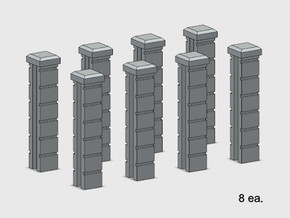 Rod Iron Fence - Splice Columns in Smooth Fine Detail Plastic: 1:87 - HO