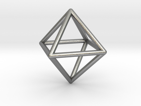 Simple Wireframed Octahedron in Natural Silver