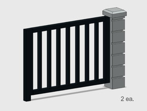 5' x 6' Rod Iron Fence Section - 2X. in Smooth Fine Detail Plastic: 1:87 - HO