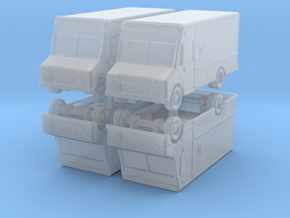 UPS Delivery Van (x4) 1/350 in Smooth Fine Detail Plastic
