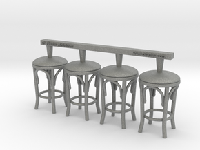Stool 02. 1:24 Scale x4 Units in Gray PA12