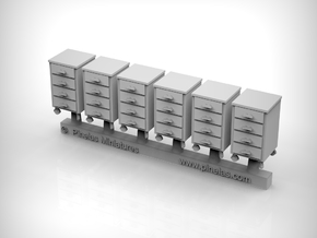 Metal cart with wheels Ver02. 1:87 Scale x6 Units in Smooth Fine Detail Plastic