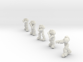 28mm Terran Powered Armor Fireteam in White Natural Versatile Plastic