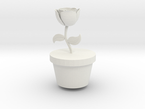 Flower Pot (LARGE) in White Natural Versatile Plastic