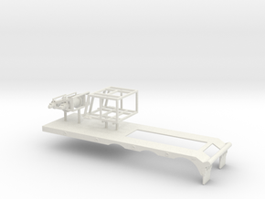 1/64th Heavy Haul Double Winch Triaxle Flatbed in White Natural Versatile Plastic