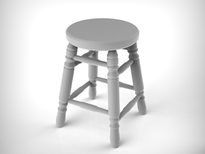 Stool 03. 1:12 Scale x2 Units in White Natural Versatile Plastic